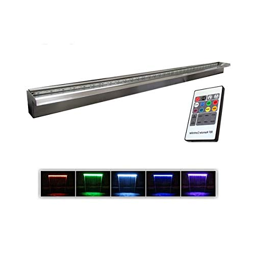 Anjon 60'' Stainless Steel Wall Fountain Weir Formal Spillway 3,600 GPH with Color Changing Light Strip Manufacturing