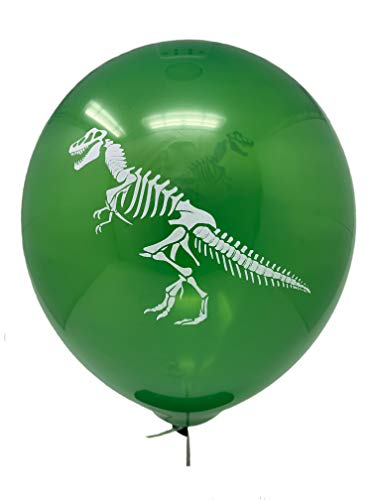 24 Green Skeleton Dinosaur Balloons Latex 12