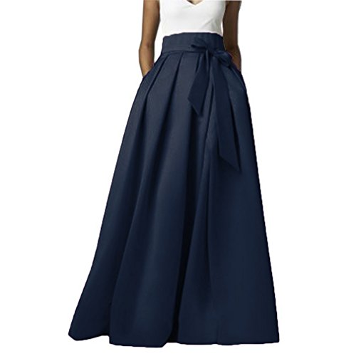 Omelas Womens Long Floor Length Pleated Skirt High Waisted Maxi A-line Party Evening Dress Navy Blue - Satin Skirt Flare