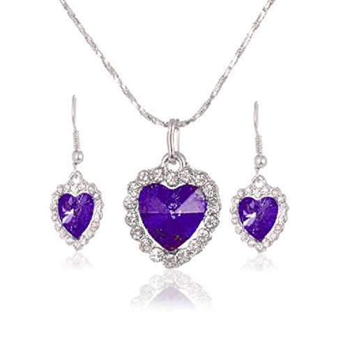 Mayfun Heart Shaped Faux Diamond Pendant Dangle Earring and Necklace Jewelry Set for Women Girls - Pendant Shaped Heart Platinum