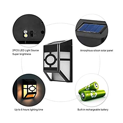 Riuty Solar Wall Lights Outdoor,LED Wireless Light Sensor Lamp Color Changing Waterproof Security Lighting for Courtyard Corridor Landscape