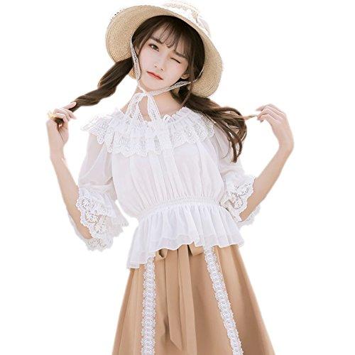 Smiling Angel Chiffon Ruffle Lace Sweet Half Sleeve Victorian Lolita White/Apricot/Black Blouse (Angel Blouse)