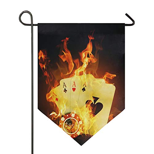 (DEZIRO Garden Flag Casino Poker Yellow Fire Vertical Double Sided Yard Decor Colorful Design for All Seasons & Holidays)
