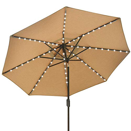 EliteShade Solar Umbrellas Sunbrella 9ft Market Umbrella with 80 LED Lights Patio Umbrellas Outdoor Table Umbrella with Ventilation and 10 Years Non-Fading Guarantee (Sunbrella LED Heather Beige)