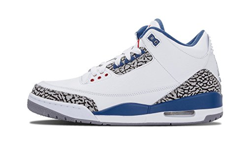 Nike Air Jordan 3 Retro Männer Hallo Top Basketball Trainer 136064 Turnschuhe Schuhe Weiß / True Blue