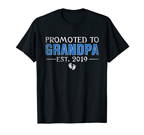 Mens Promoted To Grandpa Est 2019 T Shirt New ()
