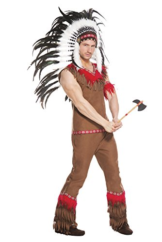 Sexy Male Indian Costumes (Music Legs Men's Indian Chief, Brown, X-Large)
