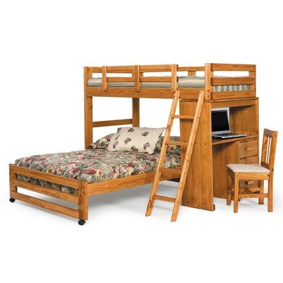 Chelsea Home Furniture 3611001 Twin Over Full Loft Bed with Desk End, 66''H, Honey