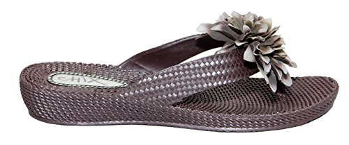 chix Womens EVA Classy Flower Design Thong Flip Flops 4 UK / 37 EU Brown lzBmf