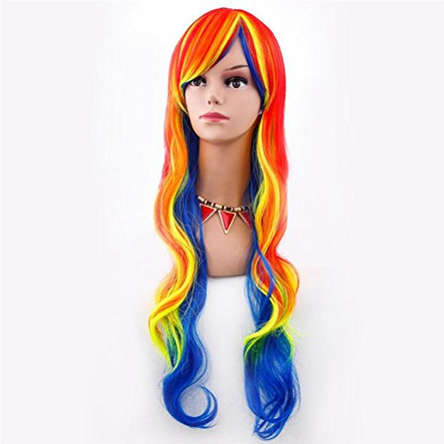 VOVOBB Color Cosplay Wig Natural Long Curly Hair Halloween Gradient Hairstyle 80cm False Head with Free Wig hat, rm-c-014 -