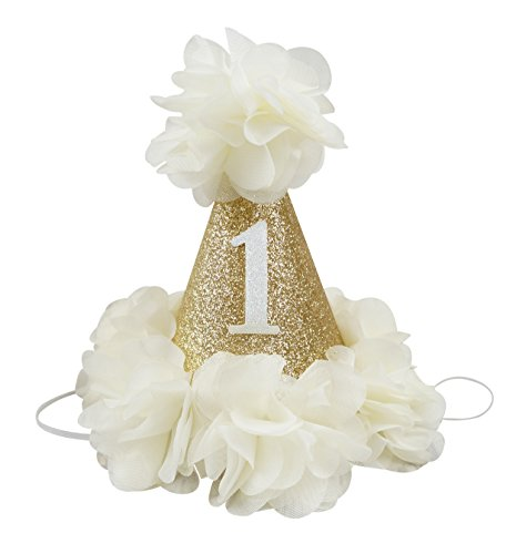 [PoshPeanut Beautiful Baby Crown Headband Princess First Birthday Cone Hat Sparkle Ivory Made in the] (Target Cowboy Dog Costume)