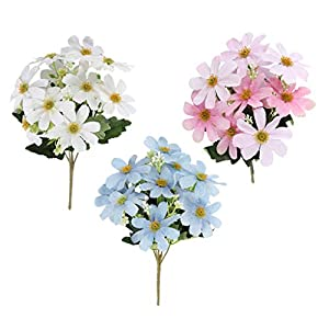 Flameer 3pcs 5 Branch 10 Heads Artificial Silk Fake Cosmos Flowers Wedding Floral Decor Bouquet, Artificial Daisy Bouquet,Blue/White/Pink 2