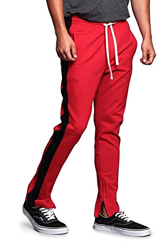(Men's Premium 4-Way Extra Stretchy Ankle Zip Contrast Outer Side Stripe Slim Fit Drawstring Track Pants TR526 - Red/Black - Large - G15B)