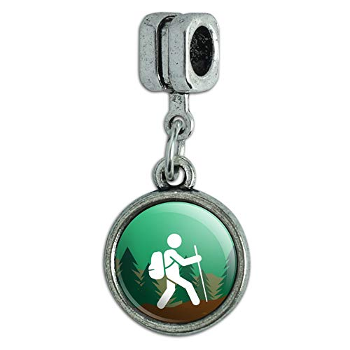 GRAPHICS & MORE Hiker Hiking Symbol Mountain Nature Italian European Style Bracelet Charm Bead