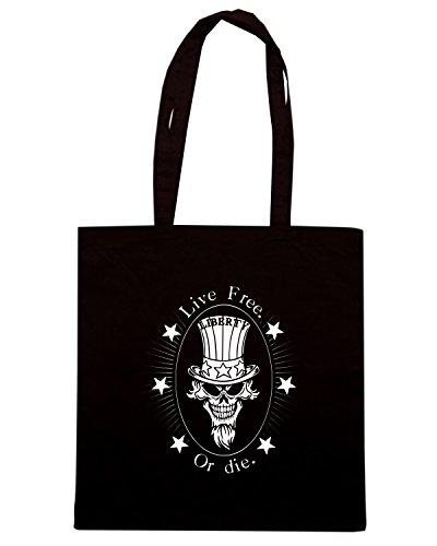 T-Shirtshock - Bolsa para la compra TM0623 live free or die liberty Negro