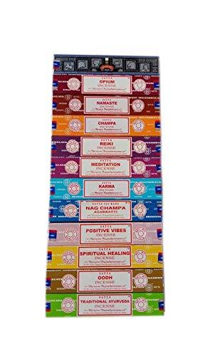 Satya Incense Set 12 x 15gram Includes: Nag, Super Hit, Oodh, Positive Vibes, Namaste, Champa, Opium, Reiki, Spiritual Healing, Karma, Traditional Ayurveda and Meditation Packs