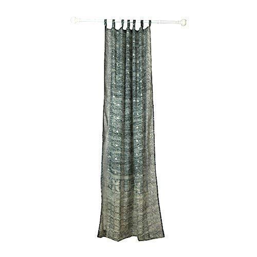 GREY SILVER Curtain Window Treatment Draperies Boho Curtains over 20 colors Sari panel 108 96 84 inch for bedroom living room dining room yoga studio canopy tent W GIFT Silk bag Slate Charcoal Gray