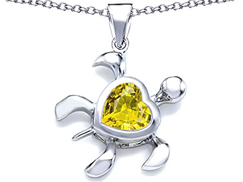 Star K Large 10mm Heart Shape Simulated Citrine Sea Turtle Pendant Necklace Sterling Silver ()