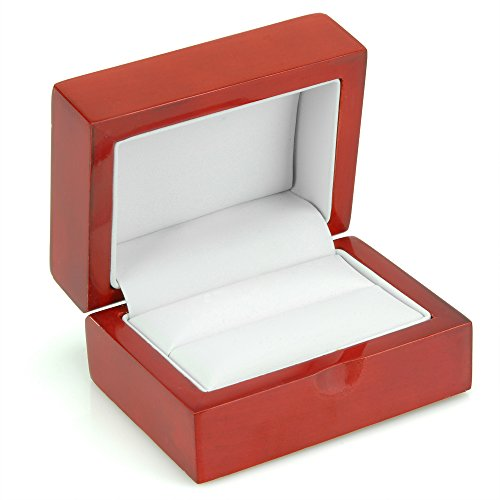 Geff House Cherry Wood Double Ring Jewelry Gift Box