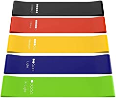 Resistance Bands Set for Men and Women, Pack of 5 Different Resistance Levels Elastic Band for Home Gym Long Exercise...