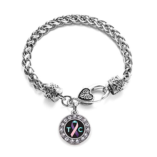 Inspired Silver Thyroid Cancer Support Circle Charm Braided Bracelet Silver Plated with Crystal Rhinestones