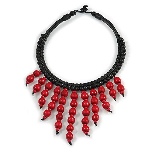 Avalaya Statement Cherry Red Wood Bead Fringe with Rubber Cord Necklace - 46cm L/ 11cm Front Drop