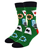 Novelty Cool Crazy Funny Crew Socks Fun Poker Cards Casual Cotton Dress Socks in Green, Gifts for Men Women