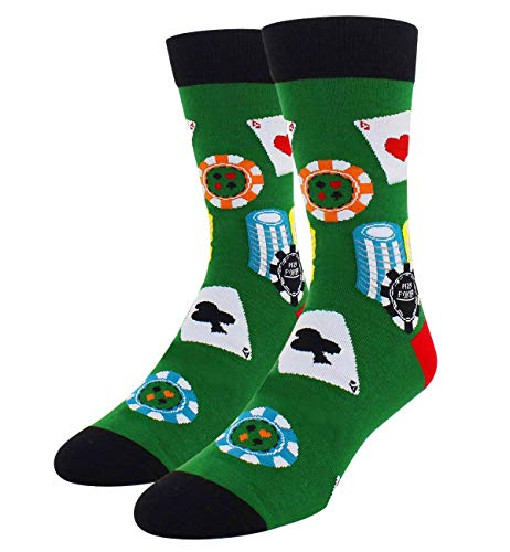Novelty Cool Crazy Funny Crew Socks Fun Poker Cards Casual Cotton Dress Socks in Green, Gifts for Men ()