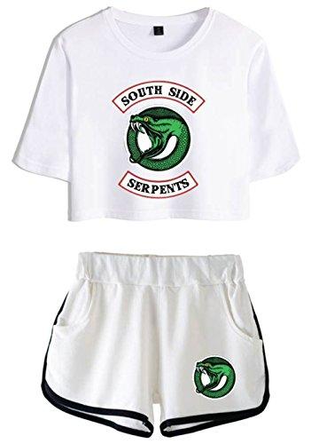 T Per bianca 4890 Ragazze Donne bianca Top Riverdale Crop E Seraphy shirt YUfqg5
