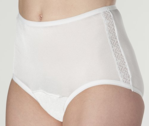 Women's White Nylon and Lace Incontinence Panties 3X (3-Pack)