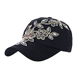 Jean Campagne Bling Flower Pattern Cap