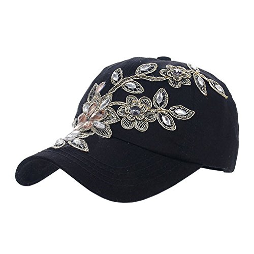 Deer Mum Ladies Denim Jean Campagne Bling Ajustable Baseball Cap Cowboy Hat(flower  1) 8fcc96cd3d94