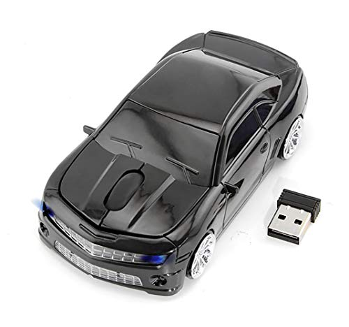 Wireless Car Mouse, 2.4G Wireless Race Car Shaped Mouse Cool Optical Computer Mouse Novelty Cordless Mice, 1600 DPI for PC Desktop Mac Laptop (Black)
