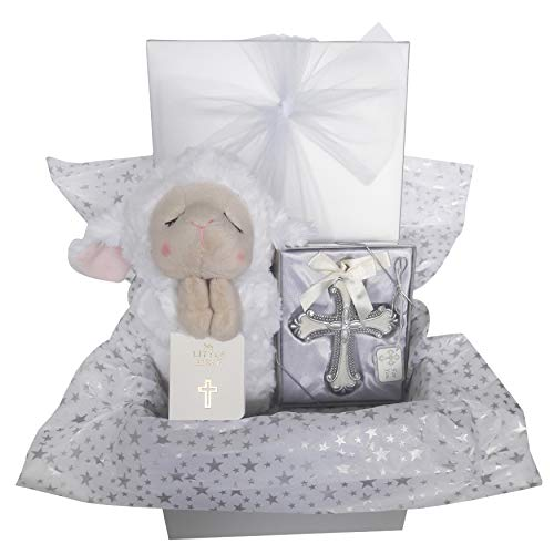 Christening Baptism Gift Set for Boy Girl Baby or Kids. Includes Ganz Praying Lamb, Crib Cross and Bible. Beautifully Wrapped in Silver Gift Box with Bow. Religious: Catholic or Christian