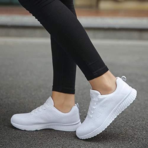 Deportes Plataforma Casual de Zapatillas Sneaker Blanco Malla Zapatos Mujer R7gTx