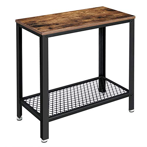 Best Buy! VASAGLE Industrial Side Table, 2-Tier Nightstand with Mesh Shelf, End Table for Small Spac...