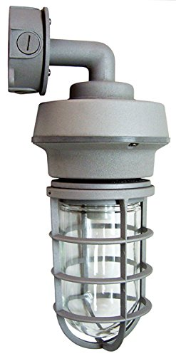 10-Watt Gray LED Outdoor Wall Mount Vapor Tight Sconce, 5000K CCT, CRI 80, Tempered Clear Glass Globe, 826 Lumens, Replaces up to 70 watt Metal Halide, Heavy-Duty Die-Cast Aluminum Housing, 120-277V