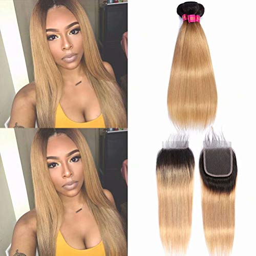 1b/27 Ombre Blonde Brazilian Straight Hair Weaves 3 Bundles with Lace Closure Free Part Unprocessed Human Virgin Hair Extension Ombre 2 Tone Color Dark Roots(14 16 16+12closure)