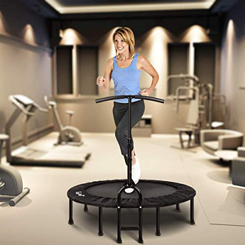 MOVTOTOP Foldable Mini Trampoline Rebounder, 40 Inch Indoor Fitness Trampoline with Adjustable Handrail and Safety Pad, Exercise Trampoline Rebounder for Kids Adults