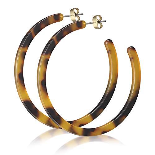 Tortoise Shell Hoop Earrings Acrylic Resin Statement Earrings Studs Bohemian Fashion Earrings for Girls