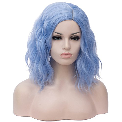 (Cying Lin Short Bob Wavy Curly Wig Water Blue Wig For Women Cosplay Halloween Wigs Heat Resistant Bob Party Wig (Water Blue))