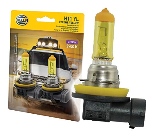HELLA H11 Yellow-55W YL Xtreme Yellow Bulbs, 12V, 55W, 2 Pack ()