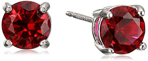 Amazon Essentials Sterling Silver Round Created Ruby Birthstone Stud Earrings (July)