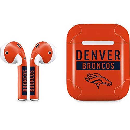 Skinit Denver Broncos Orange Performance Series Apple AirPods Skin - Officially Licensed NFL Audio Sticker - Thin, Case Decal Protective Wrap for Apple AirPods Gen 1