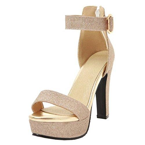 Taoffen Femmes Bride Plateforme Cheville Sandales Gold 11Arw