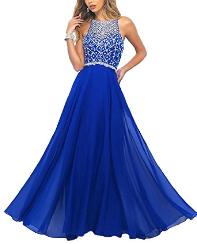 Meier Women's Illusion Back Beaded Halter Prom Dress Royal size 6