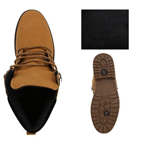 Stiefelparadies Herren Worker Boots Profilsohle Stiefeletten Gefütterte Outdoor Schuhe Schnürboots Wildleder-Optik Nieten Camouflage Flandell Hellbraun Schwarz