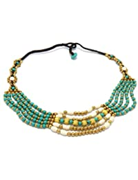 "Luxury Bib Bauble 18"" Necklace Turquoise & Howlite Beads 90-890-2812"