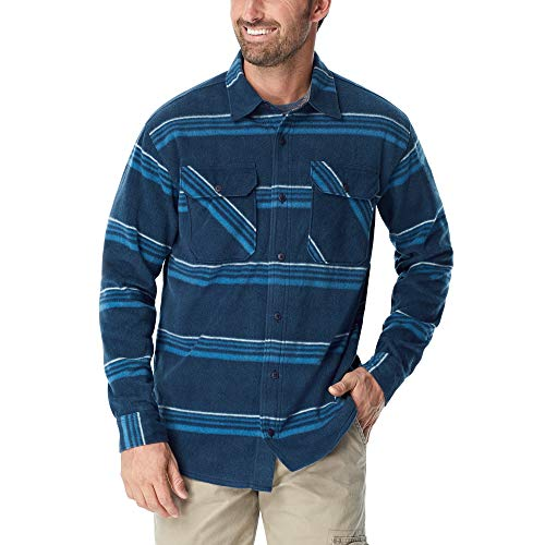 Wrangler Authentics Men's Long Sleeve Plaid Fleece Shirt, Blanket Stripe, L (Mountain Big Shirt)