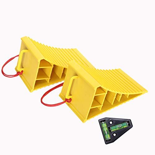 Homeon Wheels RV Camper Large Wheel Chocks with Handle and Rope for Safety-Car Chocks, Tire Chocks, Trailer Solid Heavy Duty Wheel Chocks-2 Packs.(Yellow) (Rv Tire Chocks)